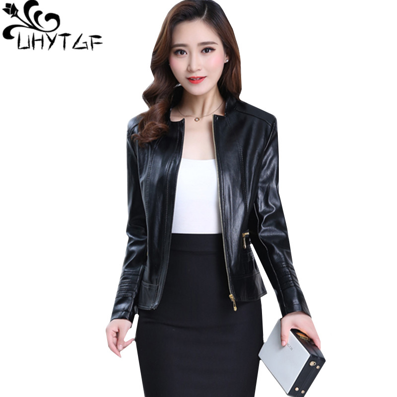UHYTGF Women Leather Jacket Casual Women 6XL Plus Size Coat Quality PU Spring Autumn Leather Jacket Washed Leather Short Top 832