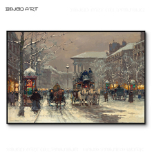 Gifted Artist Hand-painted High Quality Paris Street Scene Oil Painting Reproduce Edouard Snow The Emerald City