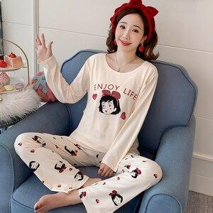 Image 4 - Hot new maternity pajamas set monthly Sleepwear Fashion long sleeved lactation Breastfeeding Nursing clothes for Pregnant Women