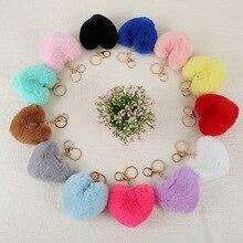 New heart-shaped pendant imitating rabbit hair peach fashion cute ball key button mobile phone jewelry gift