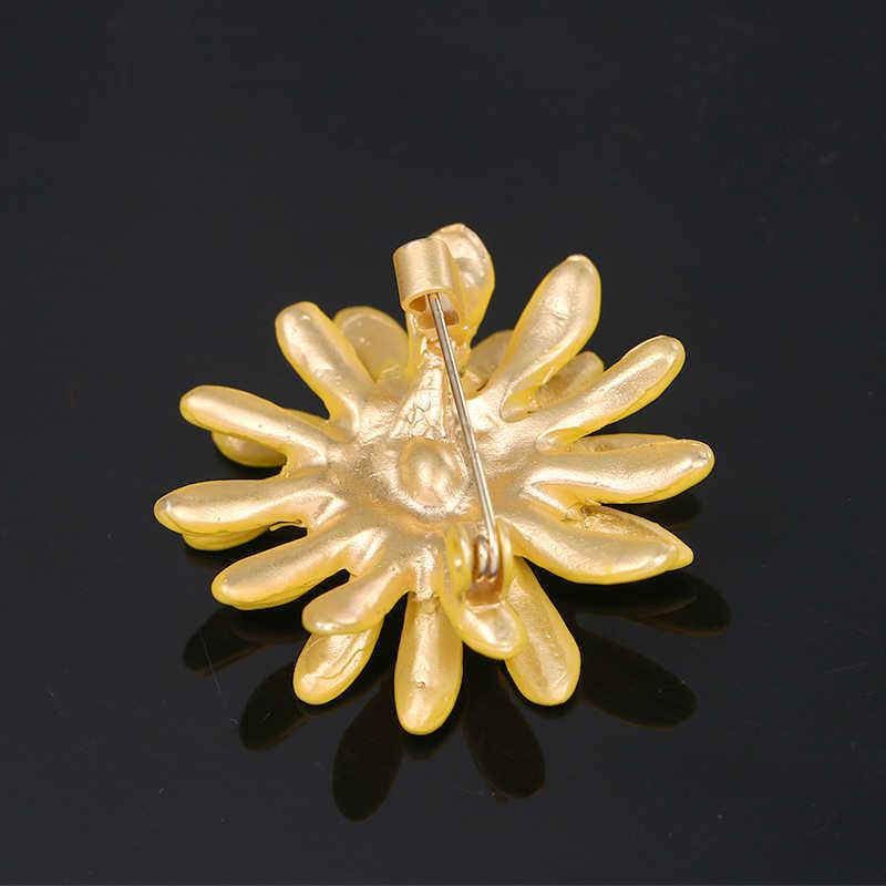 Baiduqiandu 2020 여름 새로운 도착 귀여운 해바라기 금속 합금 브로치 핀 골드 컬러 도금