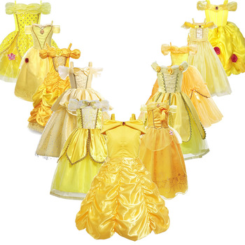 Girls Belle Princess Dress Kids Belle Cosplay Costumes Baby Girl Dress Up Frock Yellow Fancy Dress For Toddler Halloween Party fancy girl princess dress cosplay beauty and the best costume kids halloween birthday party dress belle aurora cinderella dress