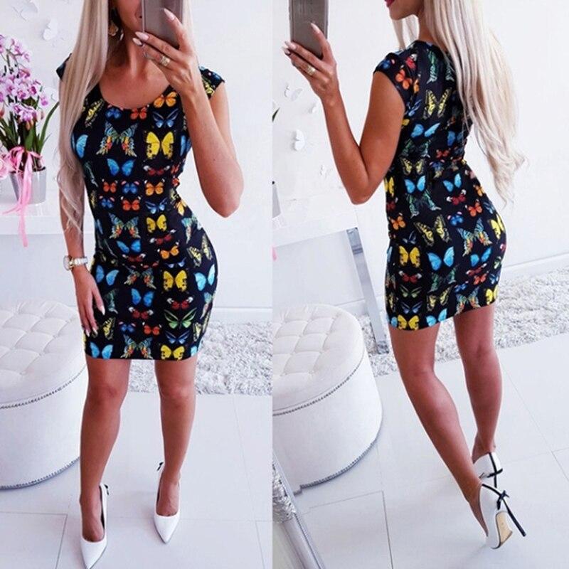 Women Dress Summer Sexy Sleeveless Slim O Neck Dress Butterfly Printing Pencil Sheath Fashion Boho Dresses