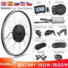 Kit de motorisation pour vélo électrique avec roue motorisée, moteur intégré dans le moyeu avant/arrière de 48V — 1500 W, 1000 W, 500 W, 350 W, 36 V, 26 pouces, LCD3