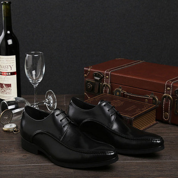 Fashion Genuine Leather Dress Shoes Men Flats Pointed Toe Formal Shoes Men Lace Up Wedding Oxford Shoes Footwear B74