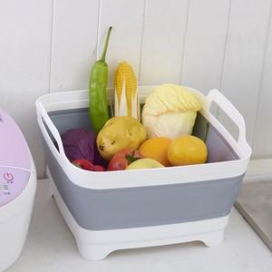Image 3 - Portable Folding Bucket Foldable Basin Outdoor Travel Foldable Camping Washbasin Fruit Basin Bowl Sink Household Cleaning Tools