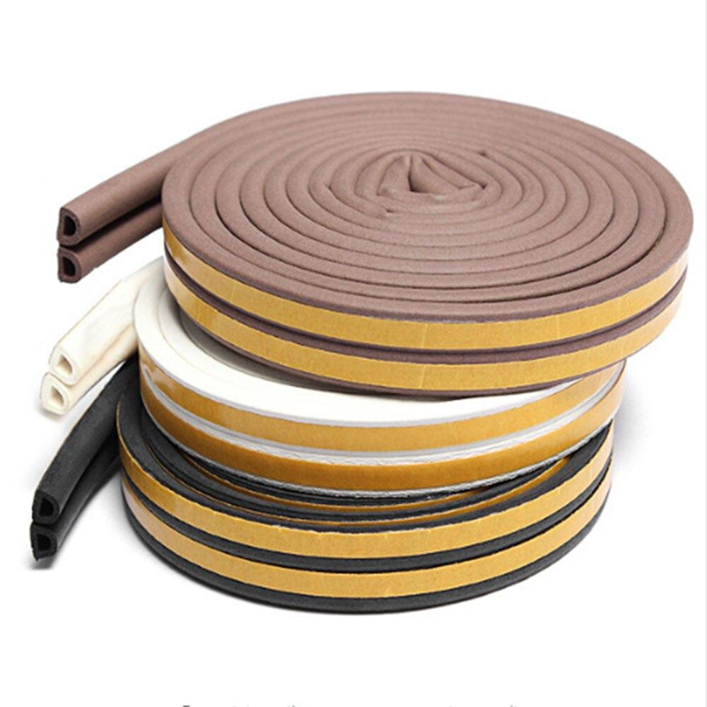Useful 1Pc 5m Self-Adhesive D Type Doors Windows Foam Seal Strip Soundproofing Collision Avoidance Rubber Sealing Strips Sticker