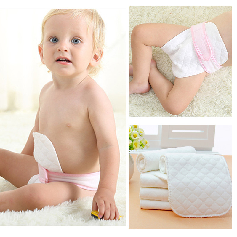 Ventilation Washable 3 Layers Cloth Inserts Birth Reusable Cotton Liners White Pocket Baby Nappies Diaper Panties Nappy Changing