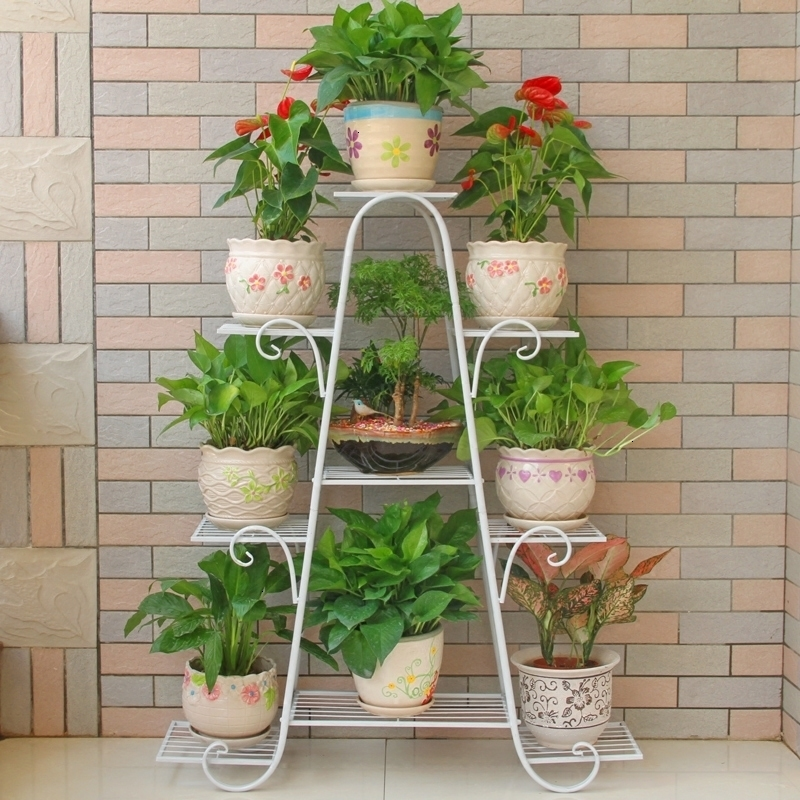 Airs Multi-storey Indoor Balcony Iron Art Of Shelf Solid Wood A Living Room Province Space Flowerpot Landing Type Green Luo