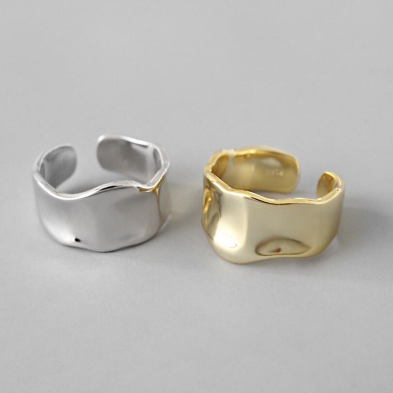Nova personalidade irregular suave ampla abertura geométrica côncava onda convexa anéis para mulher 925 prata esterlina meninas jóias