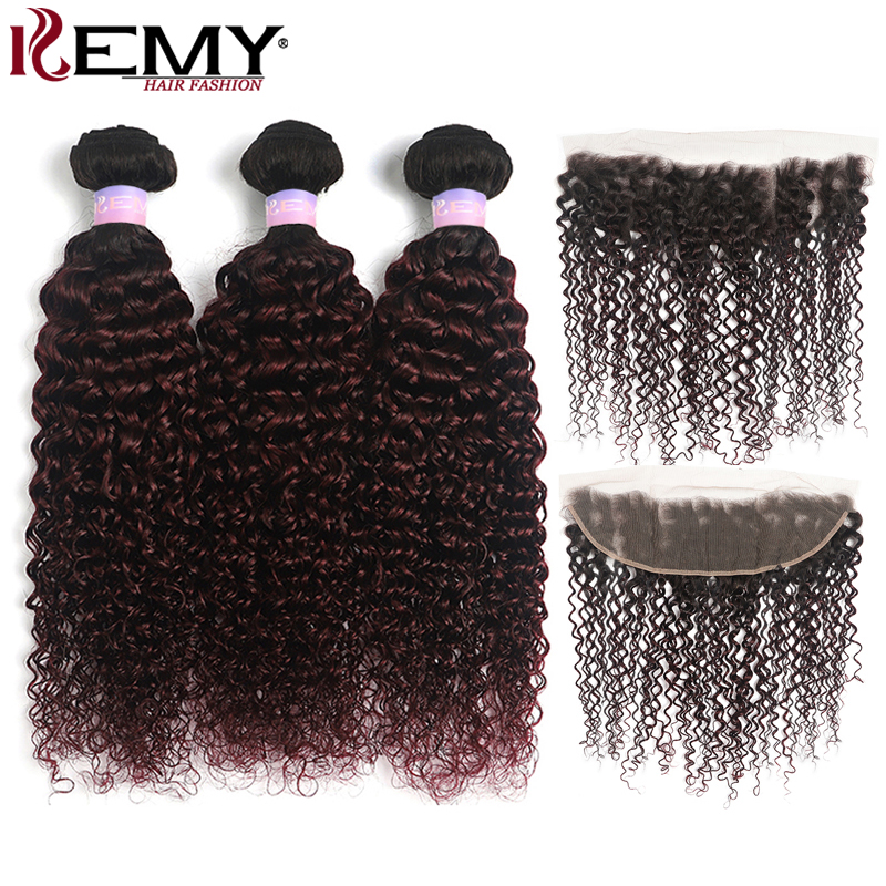 Kinky Curly Human Hair Bundles With Frontal 13x4 KEMY Brazilian Ombre Hair Weave Bundles With Closure Non-Remy Hair Extension