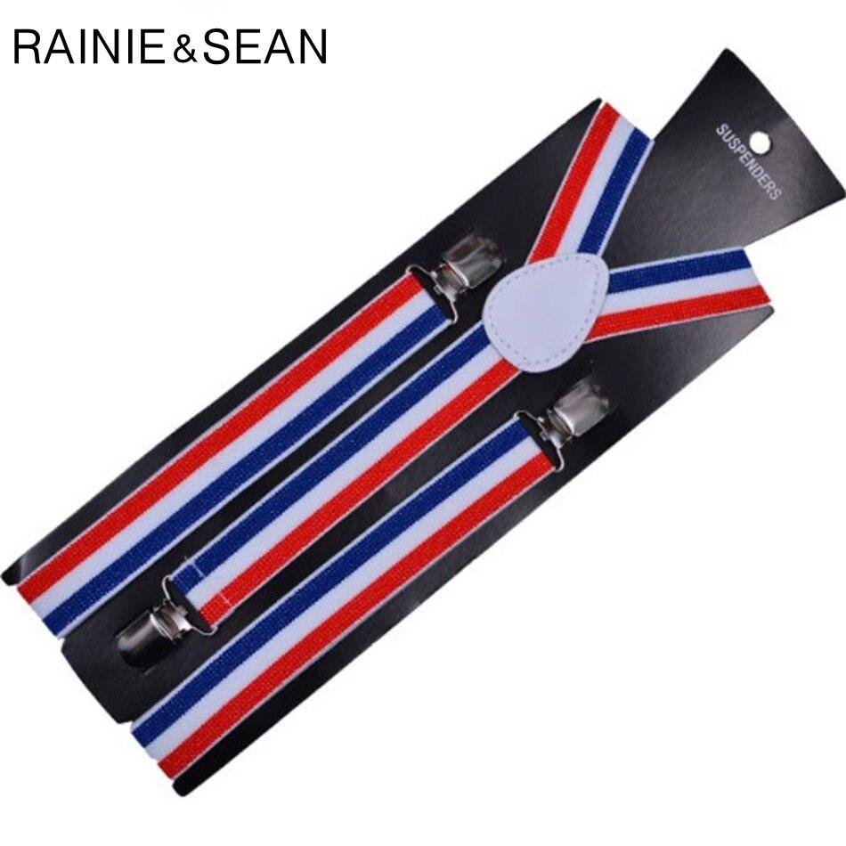 RAINIE SEAN Suspenders Men Women Striped British Style Vintage Male Female Shirt Clip Suspender Belt Y Back Shirt Braces