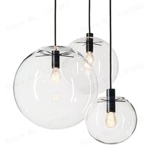 GZMJ Wonderland Modern Black Clear Glass Ball Pendant Handing Lamp Light Luster LED Glass Ball Bar Kitchen High Quality(China)