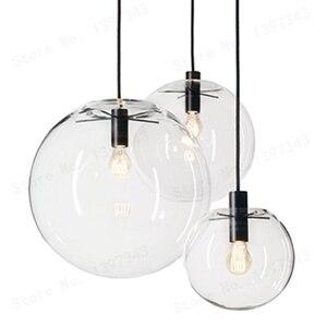 Image 1 - GZMJ הפלאות מודרני שחור ברור זכוכית כדור תליון מנורת מסירת אור ברק LED זכוכית כדור בר מטבח באיכות גבוהה