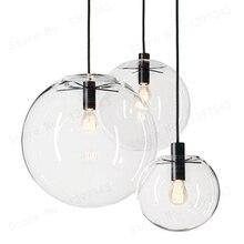 Gzmj país das maravilhas moderno preto claro bola de vidro pingente entregando lâmpada luz brilho led barra bola de vidro cozinha alta qualidade