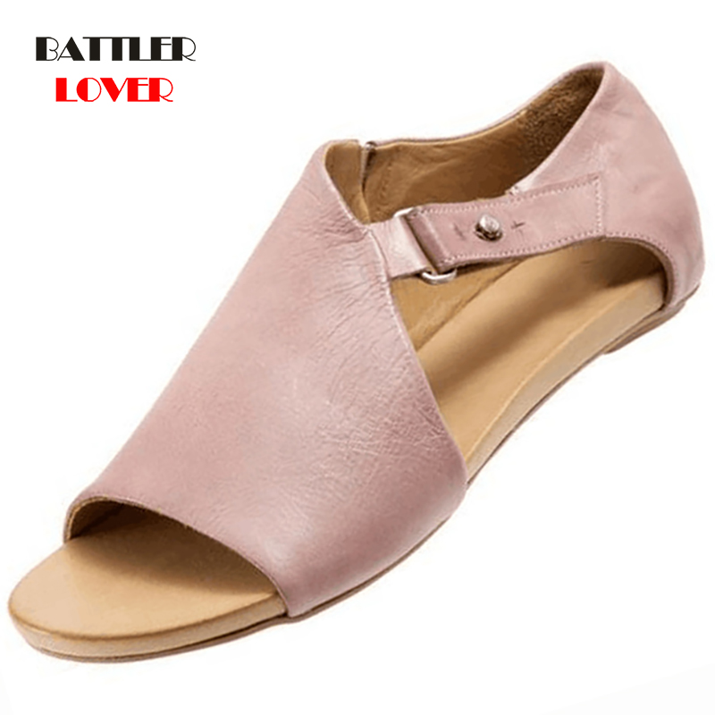 Women Sandals Flip Flops Flats 2019 New Summer Fashion Wedges Shoes Womens Slides Buckle Ladies Casual Female Shoes Plus Size