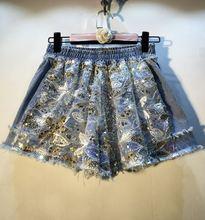 Женские летние Широкие джинсовые шорты с блестками и бусинами