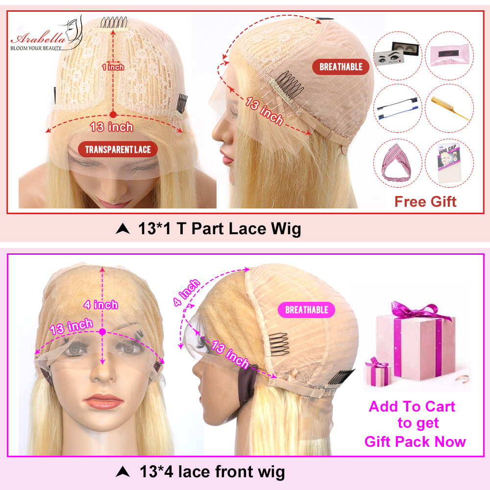 613 Lace Front Wig  Straight  Wigs Arabella Transparent Lace Wig Pre Plucked HD Blonde Lace Front Wig T Part Wig 6