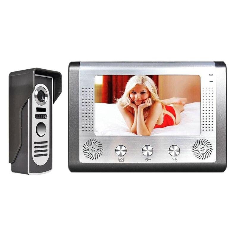 7 Inch TFT Color Intercom Video Doorbell System Kit IR Camera Doorphone Monitor Speakerphone Intercom Night Vision EU Plug