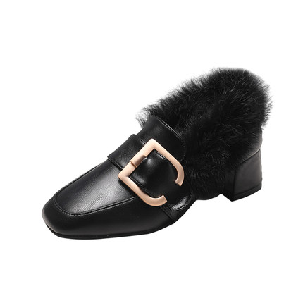 Hairy single shoes female 2019 new wild thick with the British wind a pedal small shoes 37