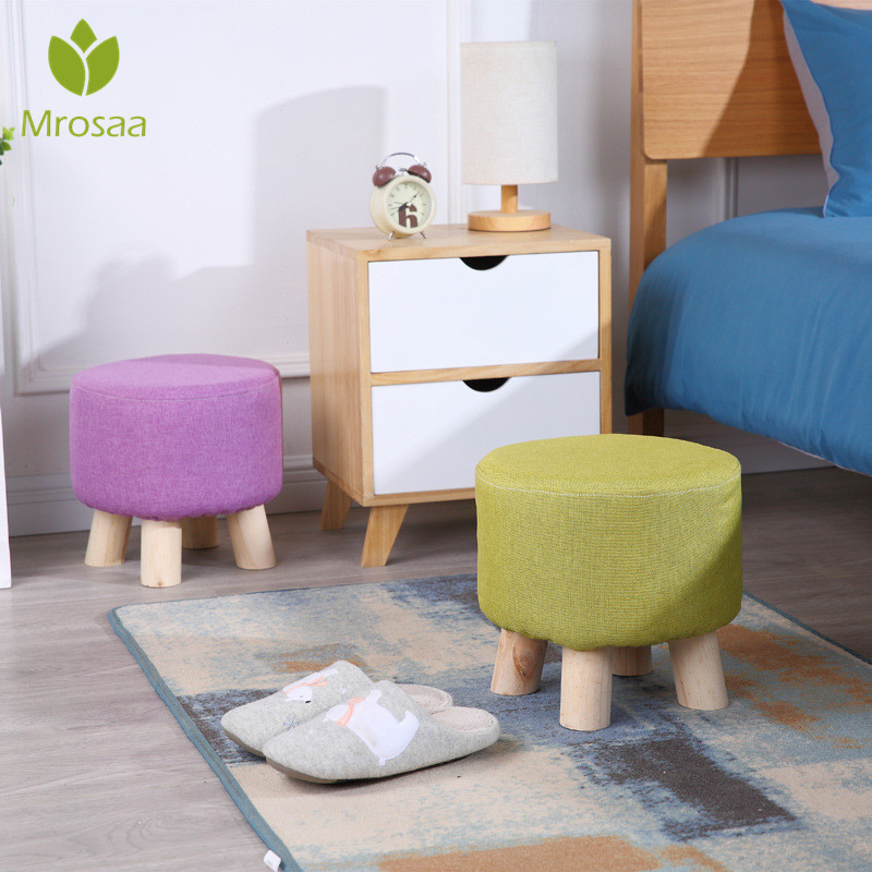 Fashion Home Sofa Upholstered Footstool Nordic Round Stool Wooden Leg Chair Pattern Round Fabric 4 Legs Kids Stool Bench