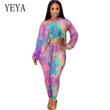 YEYA New Fashion Tie Dyeing Print Two Pieces Sets Long Sleeve Jumpsuits Women Vintage Hollow Out Playsuits Female Bodycon Wear