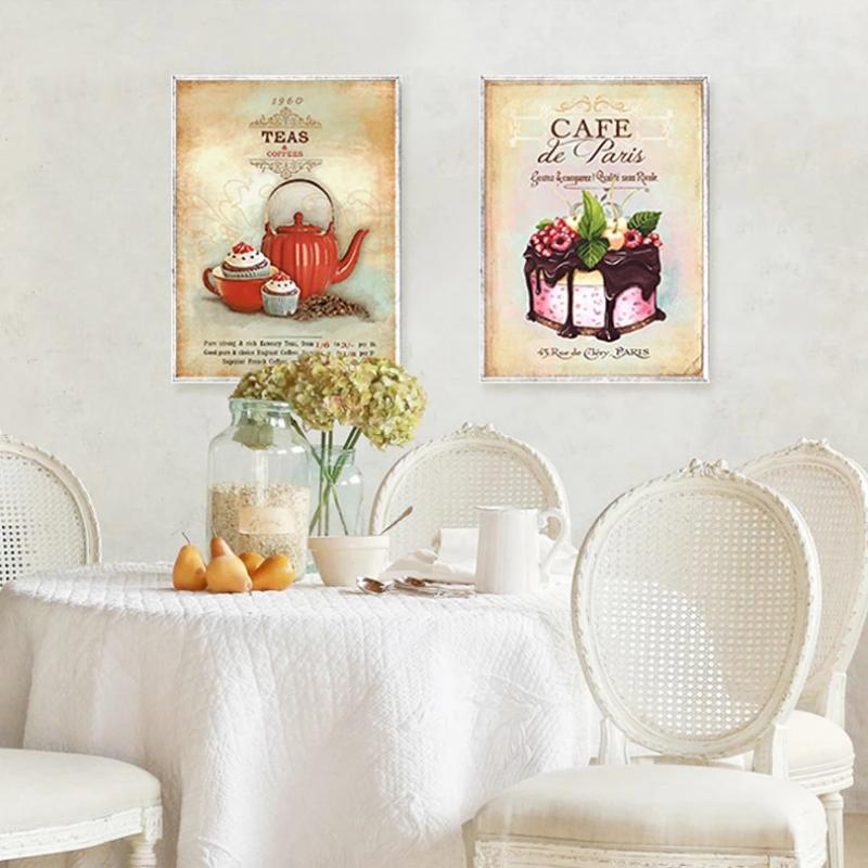 Винтажный плакат Минималистичная картина кофейного десерта Декор