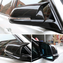 Pair with car carbon fiber appearance rearview mirror cover cap for BMW F20 F22 F30 F31 F32 F33 F36 F34 F35 universal replacement carbon fiber mirror cover for bmw rearview door mirror covers x1 f20 f22 f30 gt f34 f32 f33 f36 m2 f87 e84