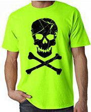 Skull And Crossbones Pirate Neon Men's T-shirt - Pirates Fancy Dress Cotton Hip-hop Tops Tee Shirt(China)