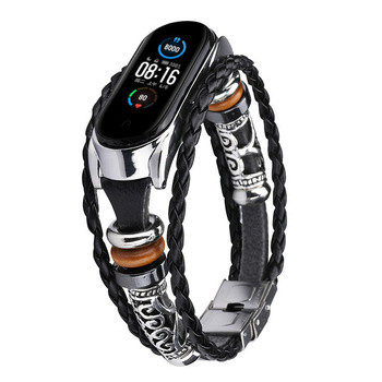 For Mi Band 4 Bracelet Retro Genuine Leather Wristband Strap for Xiaomi Mi Band 5 Accessory with Metal Case Watchband