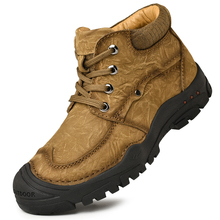 Genuine Leather Men Hiking Boots Winter Outdoor Mountain Climbing Shoes for Men Leather Trekking Boots Hunting Sneakers Men цена в Москве и Питере