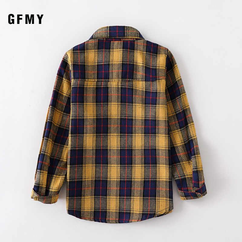 GFMY2020 Xuân Hè 100% Cotton Full Tay Thời Trang Nữ Kẻ Sọc Sơ Mi 2T-14T Thường Ngày Big Kid Quần Áo có Thể Một Áo Khoác