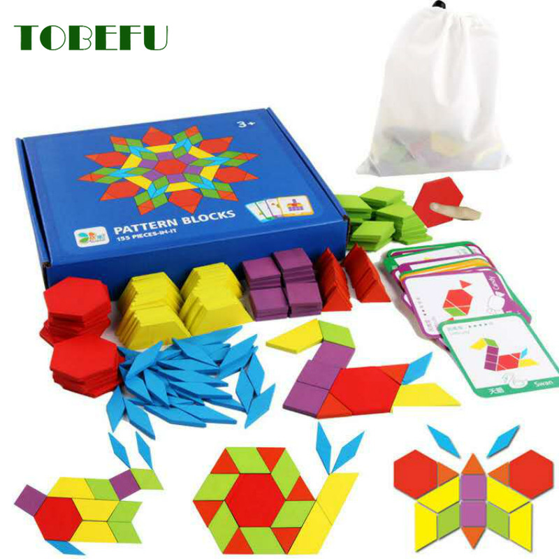 TOBEFU 155pcs Wooden Jigsaw Puzzle Board Set Colorful Baby Montessori Educational Toys For Children Learning Developing Toy