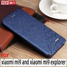 Caso di vibrazione per xiaomi mi9 di caso di xiaomi 9 explorer basamento della copertura del cuoio Mofi Xiaomi mi9 coque sottile libro di lusso di scintillio xiaomi caso di 9