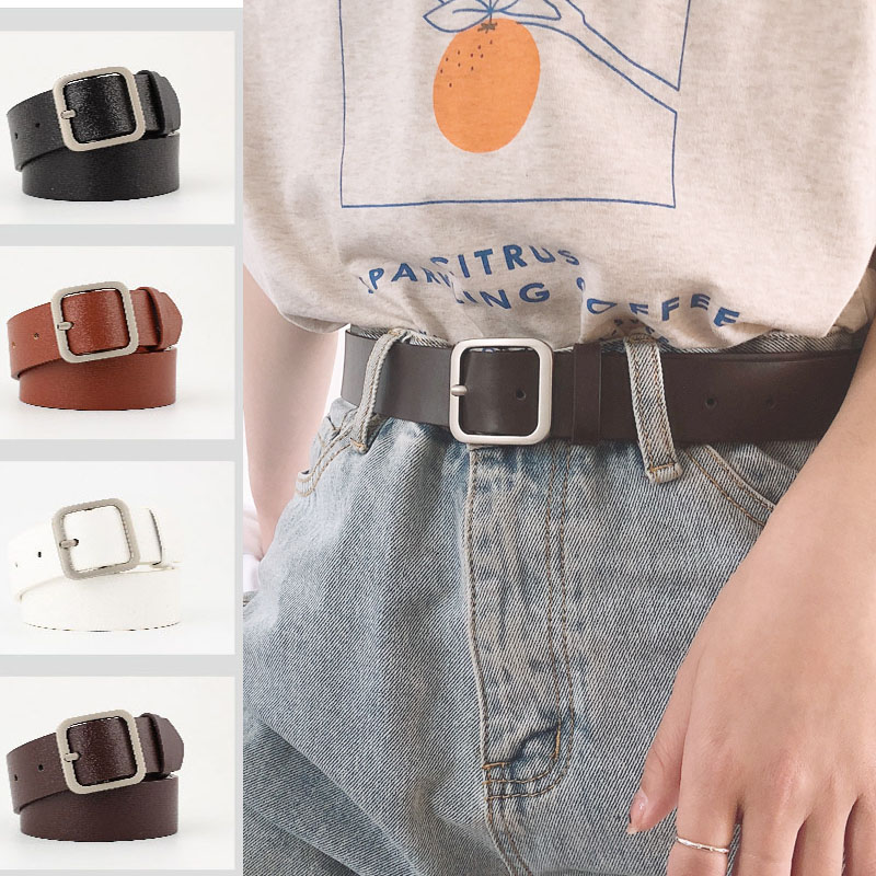 Belts For Women PU Leather Luxury Brand Silver Square Bucke Retro Belt Trousers Jeans Adjustable Belts Ladies Female Waistband