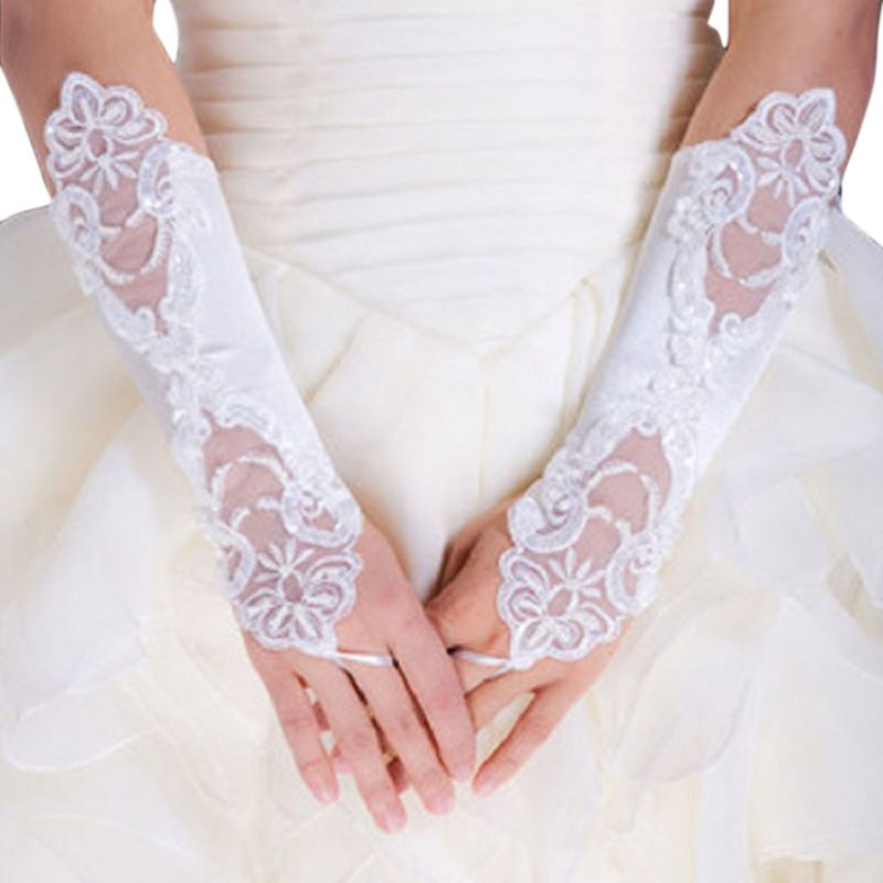 1 Pair Women Bridal Long Gloves Opera Fingerless Lace Glitter Sequins Solid Color Elbow Length Mittens Hook Finger Wedding Party