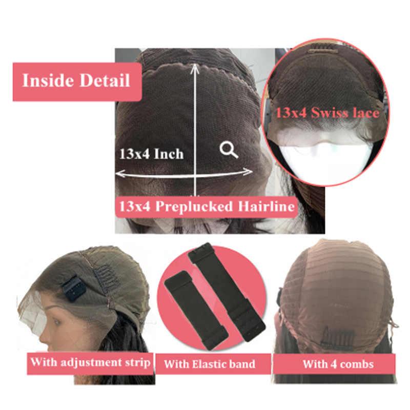 Em linha reta 13x4 perucas frontal do laço 4x4 fechamento do laço peruca onda corpo feminino brasileiro cabelo humano remy peruca 613 borgonha 99j vermelho 300%
