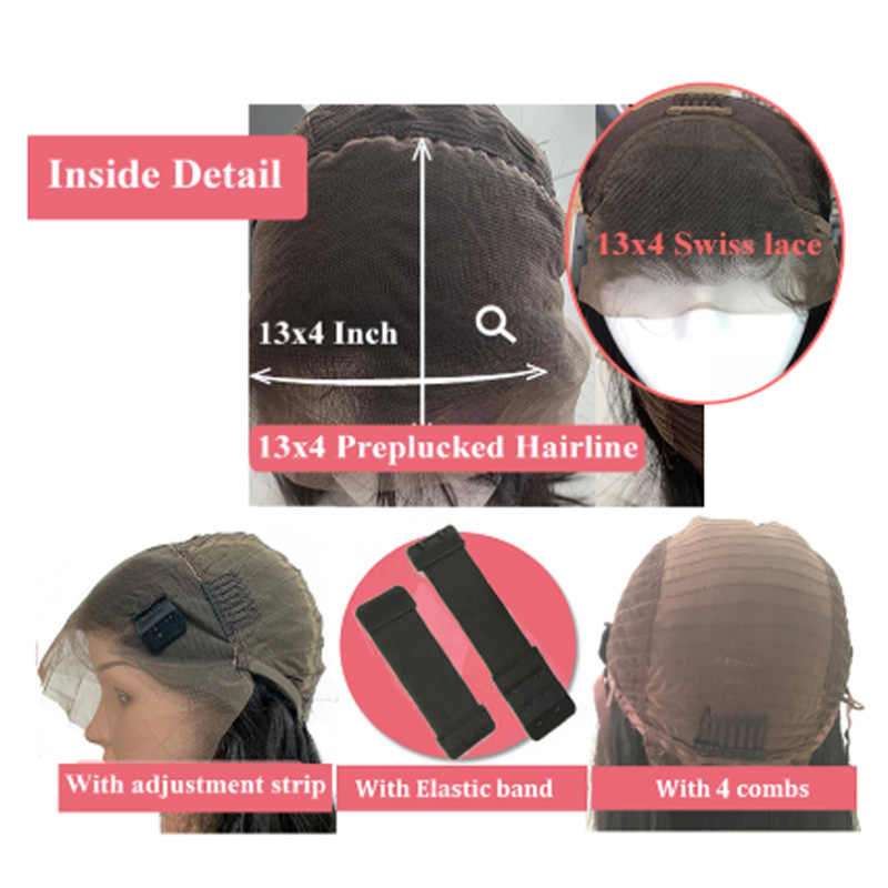 Peruca de fechamento frontal borgonha, 4x4 vermelho 13x4 de renda peruca cabelo humano brasileiro peruca sem cabelo remy 180% parte intermediária
