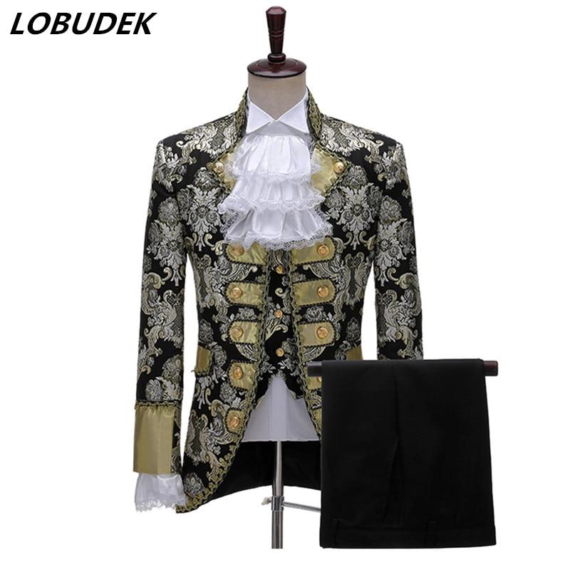 British Style Vintage Tuxedo Court Dress Men's Wedding Groom Evening Prom Jacquard Suits Stage Drama Performance 3 Piece Suit