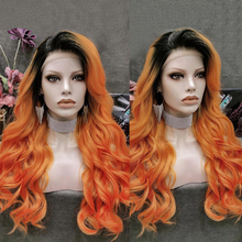 Charisma Long Body Wave Synthetic Lace Front Wig Heat Resistant Orange Wigs Free Part Glueless Wigs For Black Women Cosplay Wig