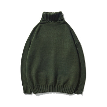 Male Knitted Turtleneck High Collar Boys Pullover Oversized Sweater Winter Green Wool Sweater Vintage Men Casual Loose Knitwear