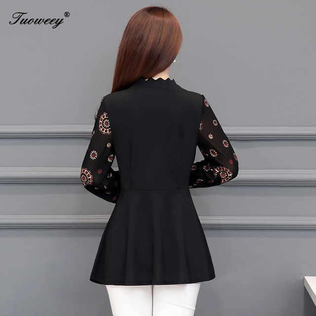 2019 New Arrival Fashion autumn long sleeve floral casual Shirt Female Casual see throughPlus Size elegant Printed Blouse 5