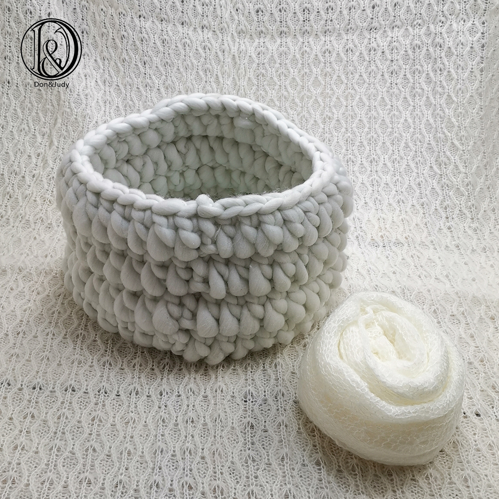 Don&Judy 3pcs/set 150x100cm Fabric Backdrops + Basket Nest + 150x40cm Mohair Wrap Newborn Blanket Background Photo Shoot Prop