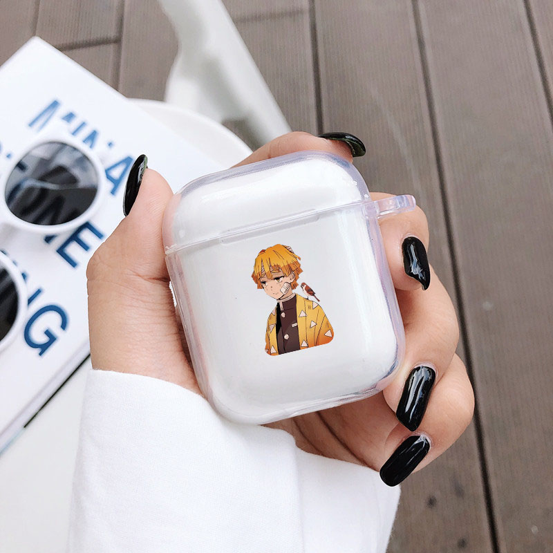 Demon Slayer Kimetsu No Yaiba Anime Pattern For Airpods 1 2 Case Bluetooth Earphone Protective Cover Soft Clear Headphone Case