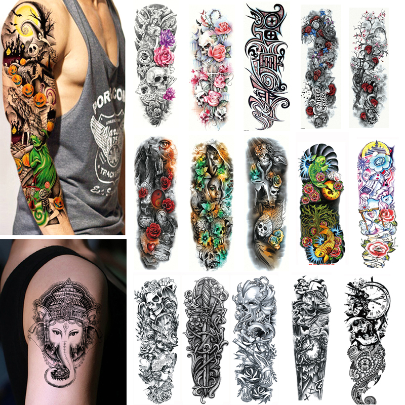 2/3pcs Waterproof Temporary Tattoo Stickers Arm Large Skull Tatoo Stickers Water Transfer Flash Fake Tattoos For Men Women