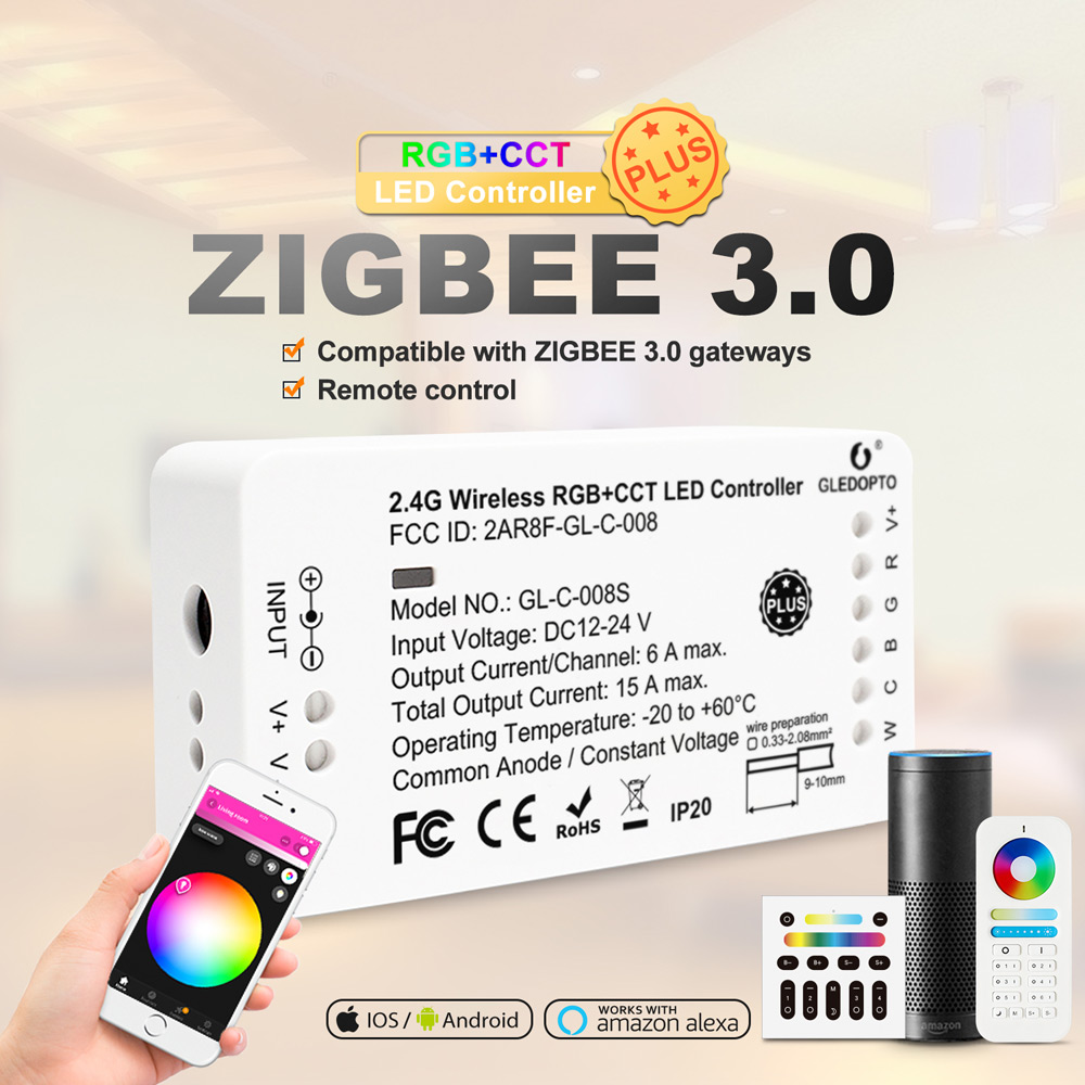 GLEDOPTO Zigbee RGBCCT LED Controller Plus RGB CCT Smart Working With Amazon Alexa Echo 3.0 Gateway APP Remote Control 12V 24V