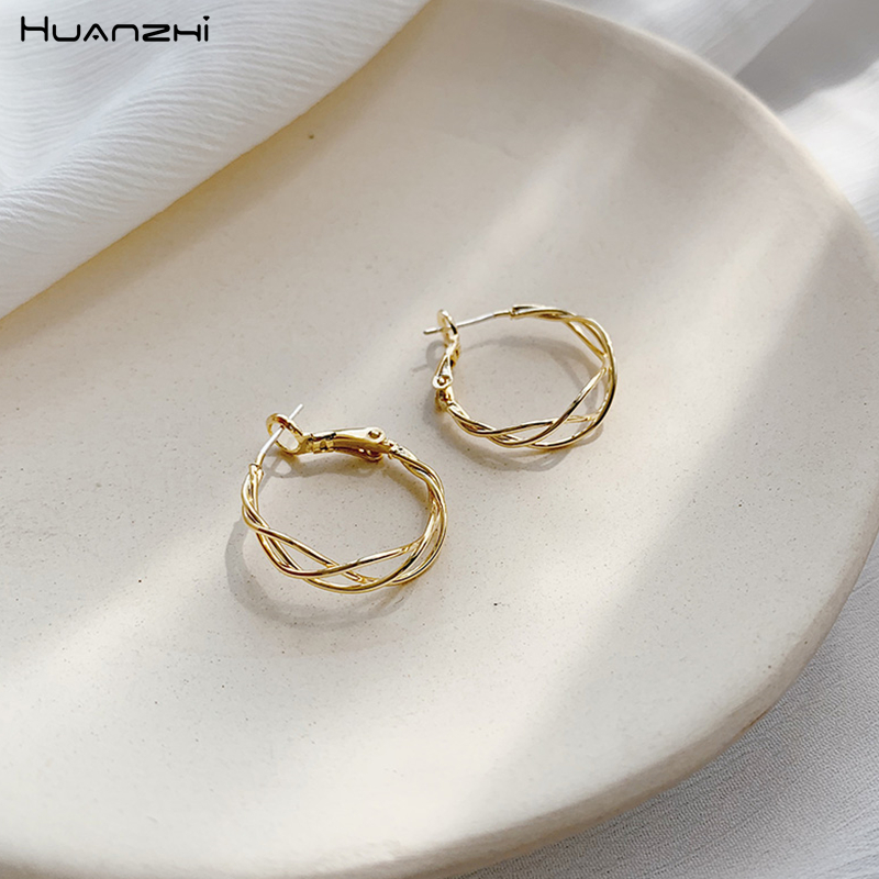 HUANZHI 2019 New Chic Gold Metal Weave Geometric Circle Hollow Winding Round For Women Girls Party Beach Holiday Jewelry