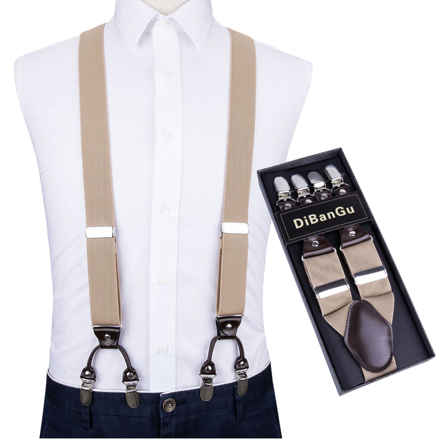 Men Khaki Elastic Suspender Genuine Leather 6 Clips Brace Male Vintage Casual Wedding Party Trousers Fashion Suspenders DiBanGu