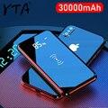 Qi 무선 충전기 30000 mah 전원 은행 아이폰 11 xs 최대 삼성 전원 은행 듀얼 usb 충전기 무선 외부 배터리 은행