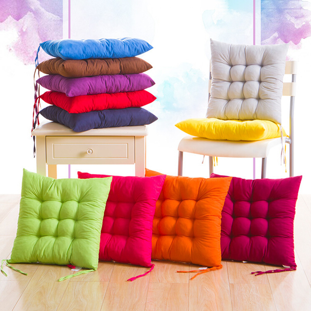 Soft Thicken Pad Chair Cushion Solid Color Tied Rope Chair Cushion Dining Room Kitchen Office Home Decor Chair Cushion Decor